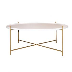 Floating Coffee Table - Medium 800mm - Gold and White