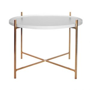 Floating Side Table - Gold and White
