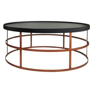 Gymkhana Side Table (Loose Top) - Black Top / Copper Base